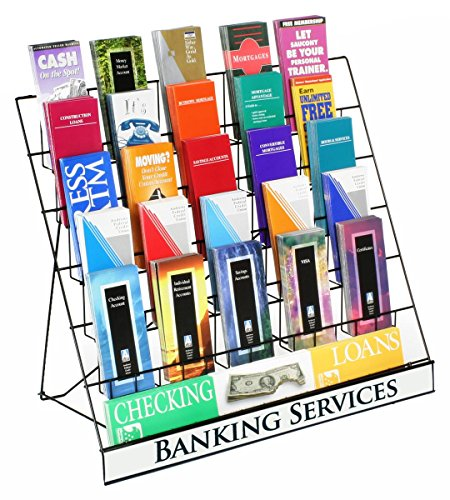 Wire Display Rack for Countertop Use, 6 Open Tiers Accommodate Literature of Varying Sizes, Includes Sign Channel - Black