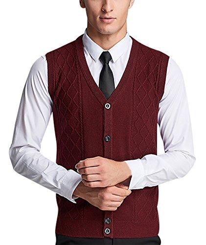Aieoe gebreide trui voor heren, zonder mouwen, vest, vantage, jacquard, ruiten, V-hals, knoopsluiting, jack, wollen vest, winter, warm, casual, kleuren, puur, maat S-XL