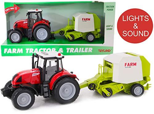Toyland® Rode Tractor en Aanhanger van 37cm met Licht en Geluid - Boerderij Speelgoed voor Kinderen (Tractor en Balenpers)