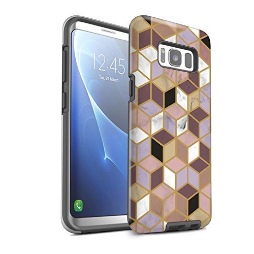 Stuff4® matte harde schokbestendige hoes/case voor Samsung Galaxy S8 Plus / G955 / geometrische blokjes patroon/geometrisch marmer patroon collectie