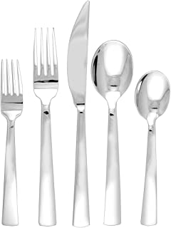 Ginkgo International Burton 42-Piece Stainless Steel Flatware Place Setting, Service for 8 Plus 2-Piece Hostess Set