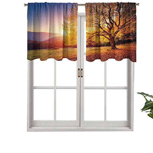 Cenefa de cortina opaca con dobladillo para barra, diseño de árbol en pendiente de colina con vigas de sol en Mountain Valley, juego de 2, 137 x 91 cm para dormitorio y sala de estar
