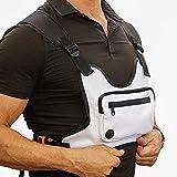 Maijia Bolsa de pecho para hombre, mujer, cintura Hip Hop frontal, chaleco táctico, paquete de riñonera, paquete de riñonera con reflectante (blanco)
