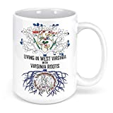 Tenacitee Living In West Virginia with Virginia Roots Coffee Mug, 15oz, White