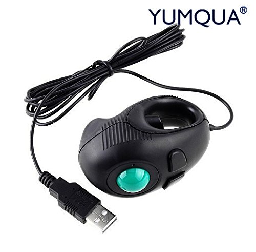 YUMQUA Y-01 Portable Finger Hand Held 4D Usb Wired Mini Trackball Mouse/Fits Left and Right Handed Users Great for Laptop Lovers