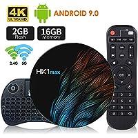 Android 9.0 TV Box 【2G+16G】con Mini Teclado inalámbirco RK3318 Quad-Core 64bit Android TV Box, Wi-Fi-Dual 5G/2.4G, BT 4.0, 4K*2K UHD H.265, USB 3.0 Smart TV Box