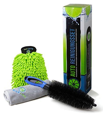 Premium Auto Reinigungsset (3-teilig) - Hochwertige Felgenbürste, Mikrofasertuch, Waschhandschuh - Die optimale Lösung für eine gründliche Autowäsche - Auch für Alufelgen