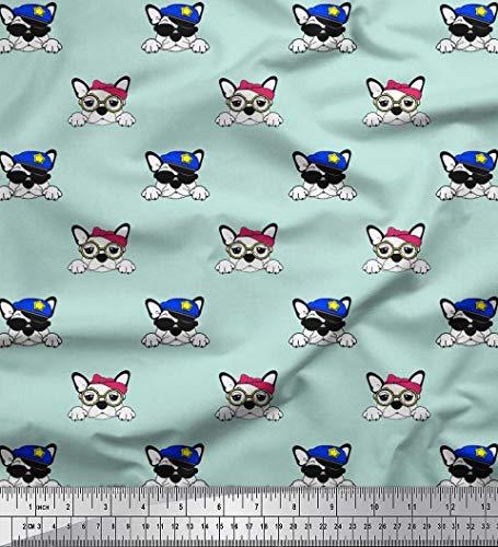 Soimoi Cotton Cambric Fabric Cap,Goggles & French Bulldog Face Dog Print Fabric by Yard 56 Inch Wide