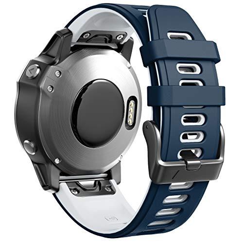 ANBEST Armbänder Kompatibel mit Garmin Fenix 5S/Fenix 6S/6S Pro Armband, Schnellverschluss Silikon 20mm Ersatzarmband für Fenix 5S Plus/D2 Delta S Smart Watch(Dunkelblau/Weiß)