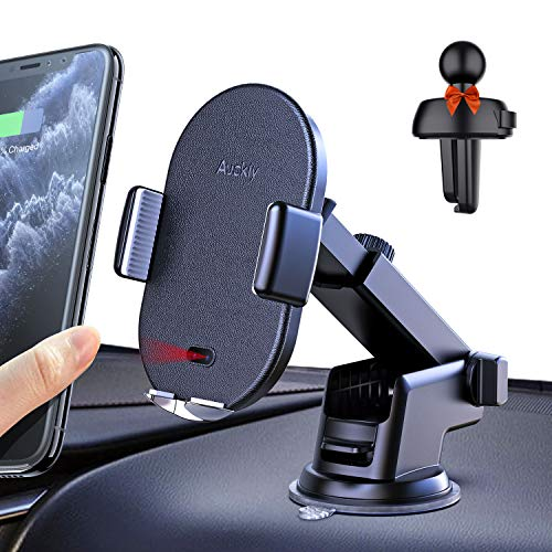 Auckly Qi Ladestation Auto 10W/7.5W,3 in 1 Qi HandyHalterung Auto Wireless Automatisch Induktions Lüftung & Armaturenbrett KFZ Handy Halterung Für iPhone 11 Pro XR/X/XS Max/8 Plus/Samsung S20/S10/S9/8