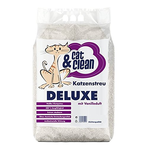 Cat & Clean Katzenstreu Der Extraklasse Klumpendes Einstreu Extrem Saugfähig Naturprodukt Aus Bentonit (Deluxe Vanille 10Kg)