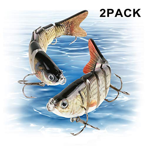 Scotamalone Fishing Lures Bass Lures, Pack of 2, 6 Segment, Tackle 6# High Carbon Steel Anchor Hook, Lifelike Multi Jointed Artificial Swimbait, Hight Quality Hard Bait, 4Inches/0.68Oz