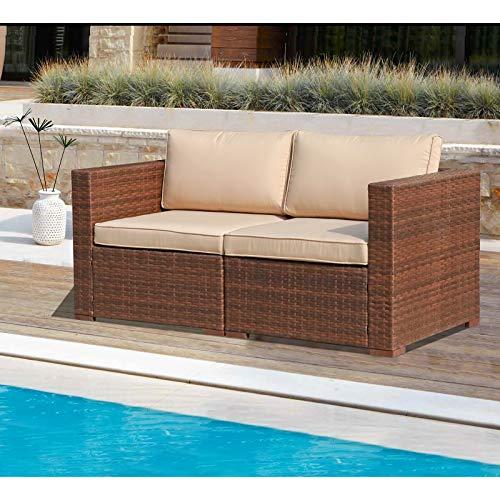 Patiorama Outdoor Wicker Loveseat 2 Pieces, All Weather Brown PE Rattan Sectional Corner Sofa Set,...