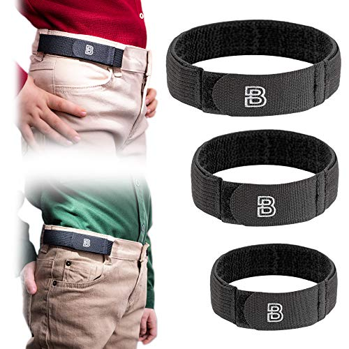 BeltBro For Kids No Buckle Elastic Belt — 3 Pack (S, M, L) — Fits 1 Inch Belt Loops, Comfortable and Easy To Use