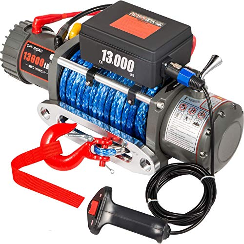 VEVOR Truck Winch 13000LBS, Electric Winch Synthetic Rope 26m/85ft 12V, Power Winch Jeep Winch with Wireless Remote Control and Powerful Motor for UTV, ATV, Jeep Truck and Wrangler in Car Lift