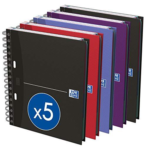 Oxford Essentials - Pack de 5 cuadernos en espiral doble, tapa extradura, A5
