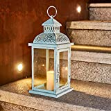 Ninganju 13 Inches Tall Rustic Decorative Candle Lantern Metal Antique Outdoor Decorative Hanging Lanterns Great for Wedding, Patio Parties, Indoor/Outdoor Decorative(Vintage Green)…