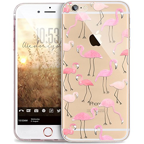 Cover iPhone 6S,Cover iPhone 6,Mandala del fiore Bling Diamanti Glitter strass Trasparente Ultra Sottile Silicone Gel Cover Custodia Bumper Case Custodia Cover per iPhone 6S/6,uccelli fenicottero rosa