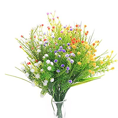 SVEN HOME Artificial Plants Flower 6 Bundles Baby's Breath Fake Plastic Greenery Shrubs Water Plants Grass Bushes Flowers Rose Filler Indoor Outside House Garden Office Wedding Decor(Mix Color)