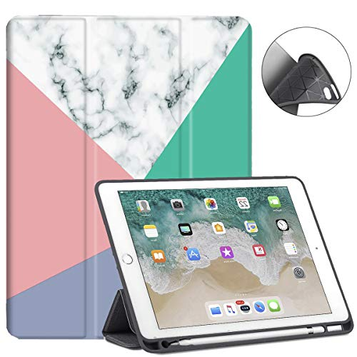 New iPad 9.7 2018/2017 Case with Pencil Holder, Slim Fit Smart Case Trifold Stand with Shockproof Soft TPU Back Cover and Auto Sleep/Wake Function for iPad 9.7 inch 5th/6th Generation