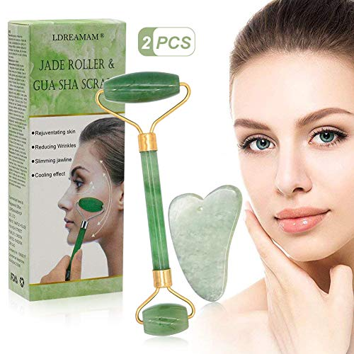 Rodillo de jade, masajeador facial de rodillo de jade natural, rodillo facial de jade...