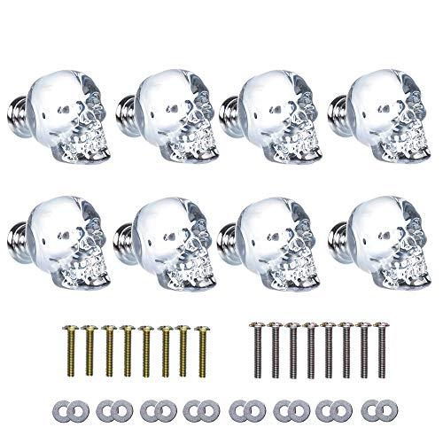 SHINY HANDLES 8Pcs Unique Ash Grey Crystal Skull Wardrobe Knob Aluminium Alloy Base,1.7x1.5inch, Factory Supply