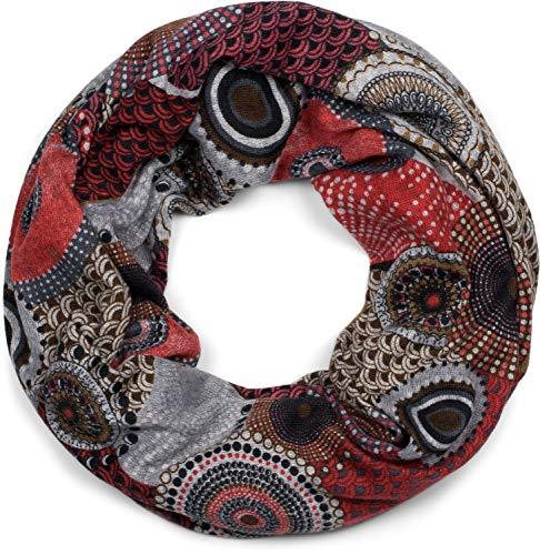 styleBREAKER Feinstrick Loop Schlauchschal mit Ethno Punkte African Style Muster, Schal, Damen 01017042, Farbe:Rot-Grau-Braun