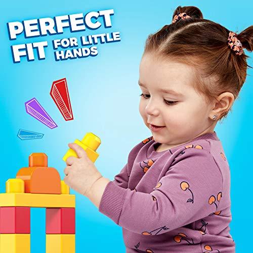 Mega Bloks First Builders Big Building Bag with Big Building Blocks, Building Toys for Toddlers (80 Pieces) - Blue Bag