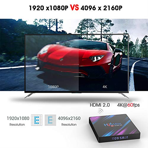 Xilibod H96 MAX TV Box Android 10.0 4GB RAM/32GB, Penta-Core Mali-450 Up to 750Mhz+, RK3318 Quad-Core 64bit Cortex-A53, H.265 Decoding 2.4GHz/5GHz WiFi Smart TV Box
