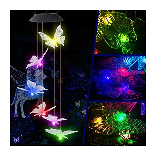 FiedFikt LED-Windspiel, Farbwechsel, wasserdicht, 6 Schmetterlinge, Windspiel für Zuhause, Party, Nacht, Garten, Terrasse, Balkon, Deck, Hof, Tür, Fenster, Dekoration, Geschenk (A)