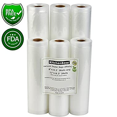 Vacuum Sealer Rolls 6 Pack 8 x16.5' and 11 x16.5' . Commercial Grade Bag Rolls for Food Saver and Sous Vide(total 100 feet) - KitchenBoss