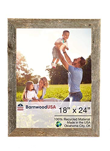 BarnwoodUSA | Farmhouse Picture Frame, 2' Inch Molding - 100% Up-cycled Reclaimed Wood (18x24, Weathered Gray)