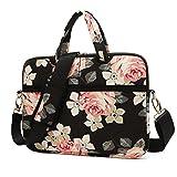 KAYOND Black Rose Patten water-resistant Laptop Shoulder Messenger Bag Case Sleeve for 15 Inch 15.6 Inch Laptop,Laptop Briefcase