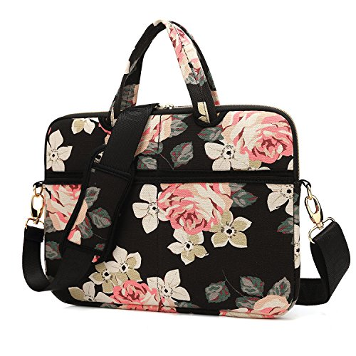 KAYOND Black Rose Patten Canvas Laptop Shoulder Messenger Bag Case Sleeve for 15-15.6Inch Laptop and Macbook Pro 15.4(15-15.6 inch, Black Rose)