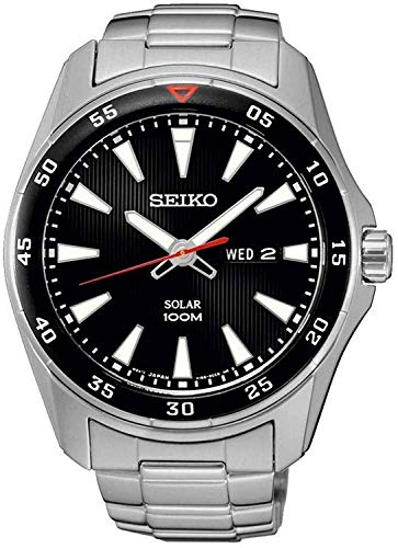 Seiko Men's Analogue Solar Powered Watch with Stainless Steel Bracelet – SNE393P1