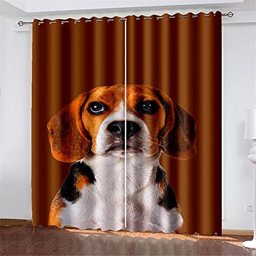 FACWAWF Patrón De Perro Impreso En 3D Excelente Aislamiento Térmico Y Pliegues De Ondas, Adecuado para Cortinas De Balcón En Sala De Estar, Dormitorio, Sala De Estudio 132x160cm(2pcs)
