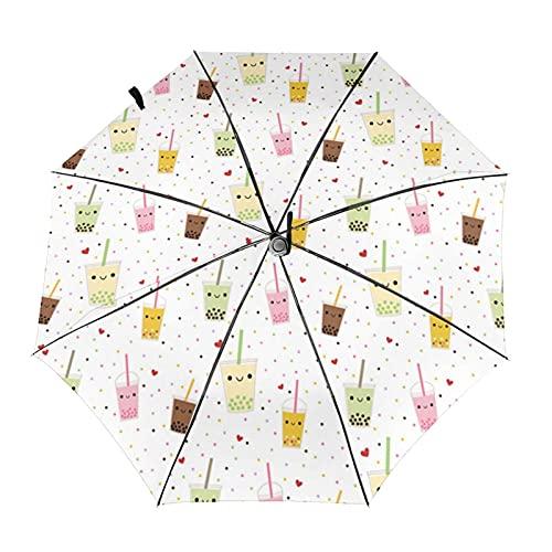 Donono Paraguas automático de tres pliegues 3d impresión feliz Boba burbuja té a prueba de viento protección UV lluvia paraguas interior impresión para al aire libre