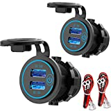 [2 Pack] 12V USB Outlet, Quick Charge 3.0 Dual USB Power Outlet with Touch Switch, Waterproof 12V/24V Fast Charge USB Charger Socket DIY Kit for Car Boat Marine Bus Truck Golf Cart RV Motorcycle etc.