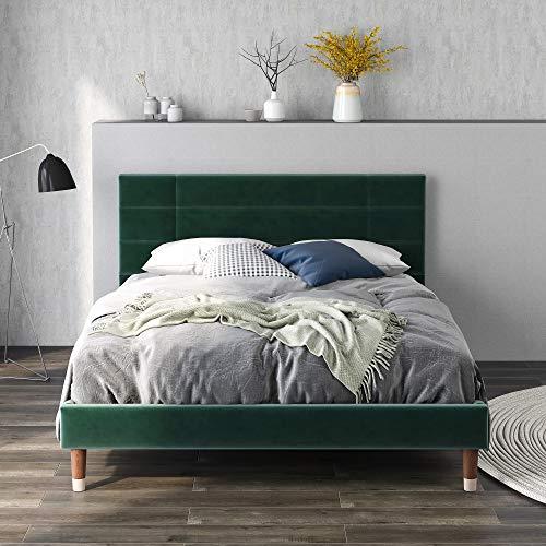 Polsterbett 140x200cm Doppelbett Bettgestell in dunkelgrün Samt für Erwachsene&Jugendliche(Matratze Nicht enthalten) (Grün)