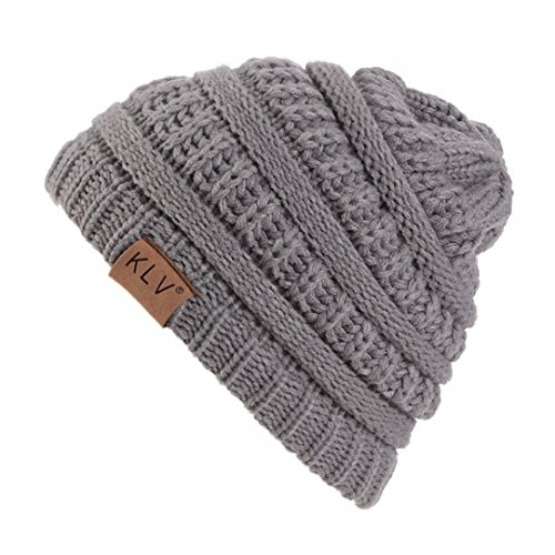 Elaco Beanie Skull Slouchy Caps, Boy Girls Warm Crochet Winter Wool Knit Ski Hat (Gray)