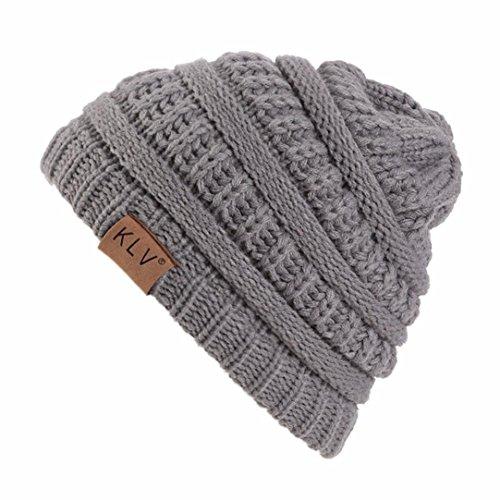 Elaco Beanie Skull Slouchy Caps, Boy Girls Warm Crochet Winter Wool Knit Ski Hat (Gray)