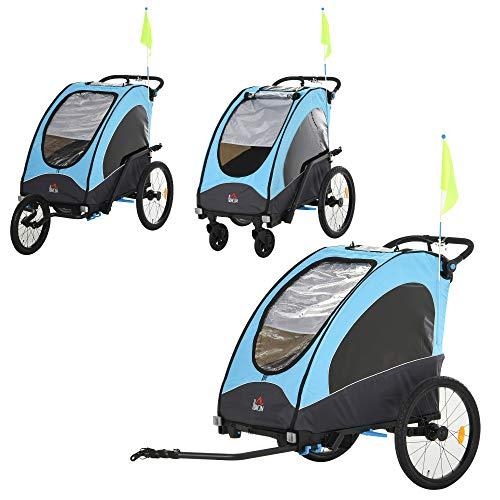 HOMCOM 3 in 1 Foldable Children Bike Trailer Kids Stroller Jogger Transport Buggy Carrier w/Suspension Rubber Tires Adjustable Handlebar for 2 Kids Blue and Black