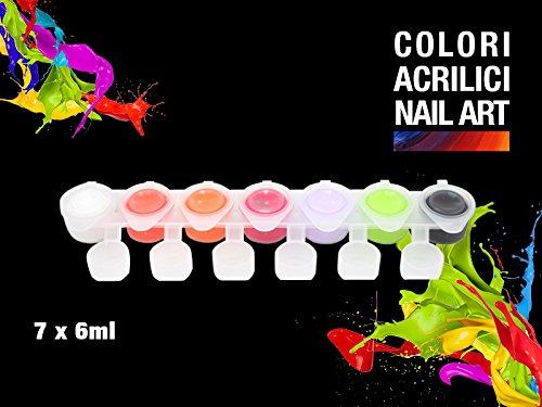 Set Pots 7 couleurs acryliques pour ongles, Nail Art Reconstruction Ongle avec complaisance doseur + Pinceau pointe fin Kit 08