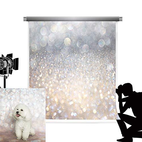 Kate Foto Hintergrund Hochzeit 1,5 x 2,2 m Remasuri Glitzer Grau Photobooth Hintergrund Weicher Stoff Fotobox Hintergrund Baby