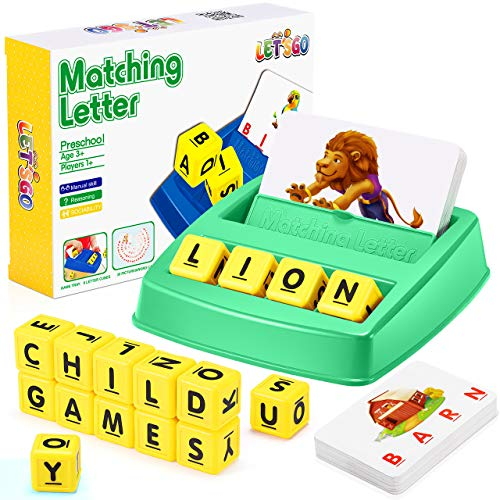 Educational Toys for 3-8 Year Olds Boys Girls, Matching Letter Game for Kids Toys Ages 3-8 Spelling Games for Kids Ages 3-8 Preschool Kindergarten Toys Xmas Gifts for Kids Stocking Fillers Green