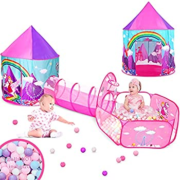 Gift for Girls Playhouse with Tunnelfor Toddlers Unicorn Princess Castle Play Tent for Kids Girls & Pop Up Play Tunnel & Ball Pit & Basketball Hoop Toys for Girls Outdoor Indoor Play