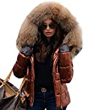 Aofur Womens Casual Jackets Winter Trench Coats Fur Collar Hooded Zipper Down Parkas (XXX-Large, Brown)