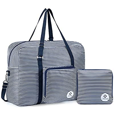 For Spirit Airlines Foldable Travel Duffel Bag Tote Carry on Luggage Sport Duffle Weekender Overnight for Women and Girls (Blue Stripe)