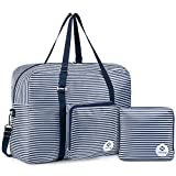 For Airlines Foldable Travel Duffel Bag Tote Carry on Luggage Sport Duffle Weekender Overnight for Women and Girls (Blue Stripe-1109)