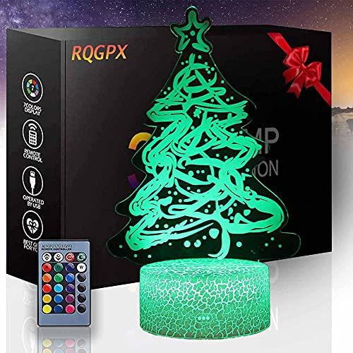 Árbol de Navidad 3D LED noche luz 3D ilusión lámpara 16 colores cambiantes táctil lámpara de escritorio para niños cumpleaños regalos de Navidad